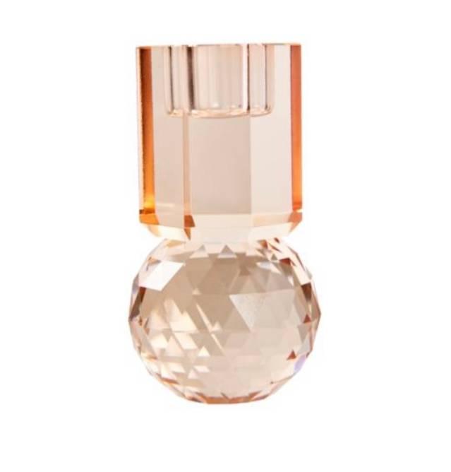 Bilde av Peach krystal lysestake